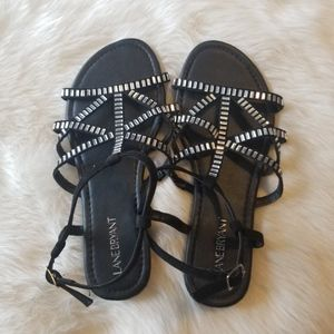 Lane Bryant Black Sandals Rhinestones Ankle Buckle